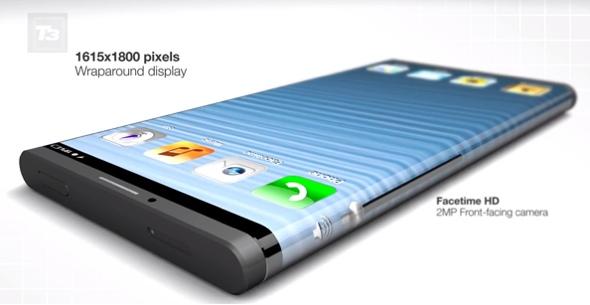 Konstnärs koncept av en wrap-around iPhone