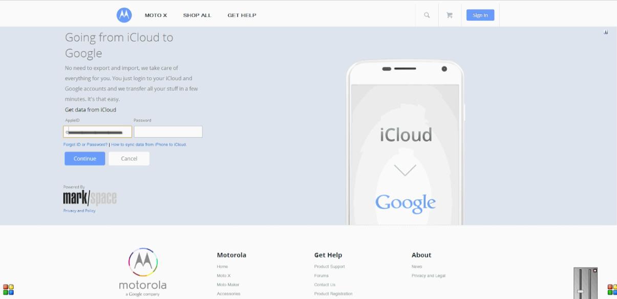 Logga in på iCloud på Moto Maker -webbplatsen för att byta form från iPhone till Moto X enklare.