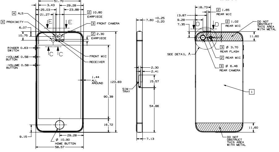 Så här ser en officiell iPhone 5 -plan ut direkt från Apple, som erbjuder detaljer till fallet.