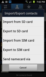 Exportera kontakter