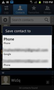 Spara kontakt till