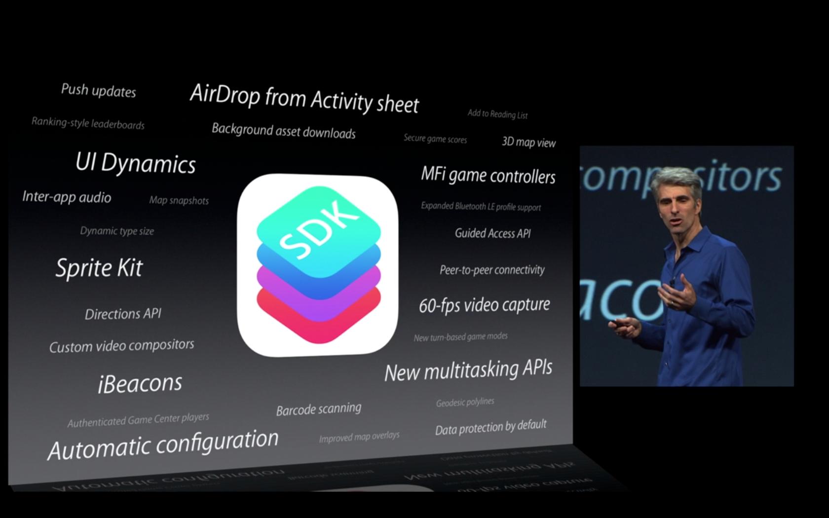 Några av de nya förmågorna som kommer till iOS 7 SDK.