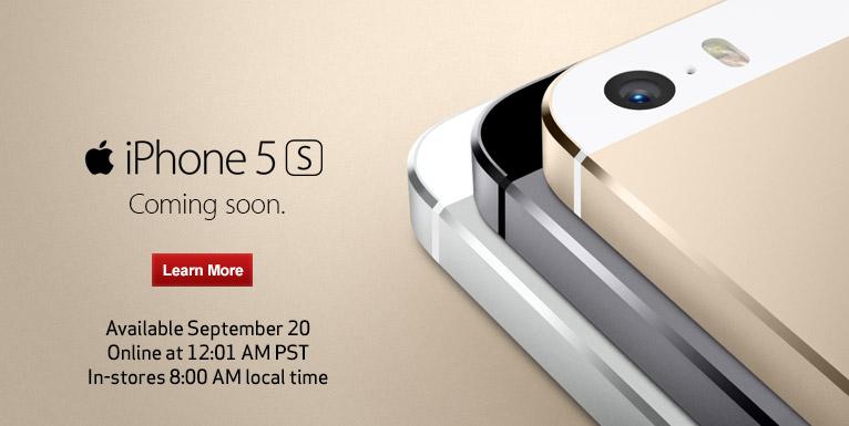 Verizon kommer att börja beställa iPhone 5S kl. 12:01 PST.