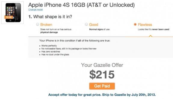 Gazelle erbjuder en bättre värdehandel för iPhone 4S.