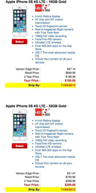 Verizon guld iPhone 5S är slutsåld och återkommer inte snart.