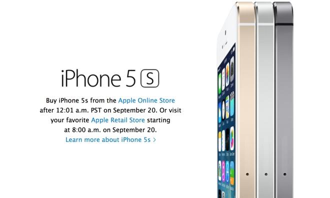 IPhone 5S kommer att beställas vid midnatt den 20 september.