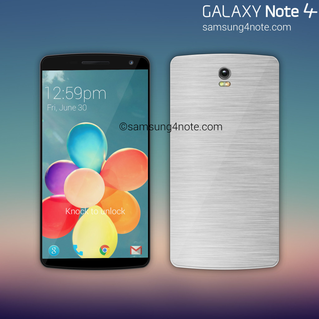 Detta Samsung Galaxy Note 4 -koncept visar en metalldesign.