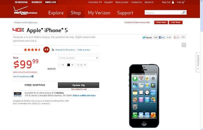 IPhone 5 tappade kort på Verizon.