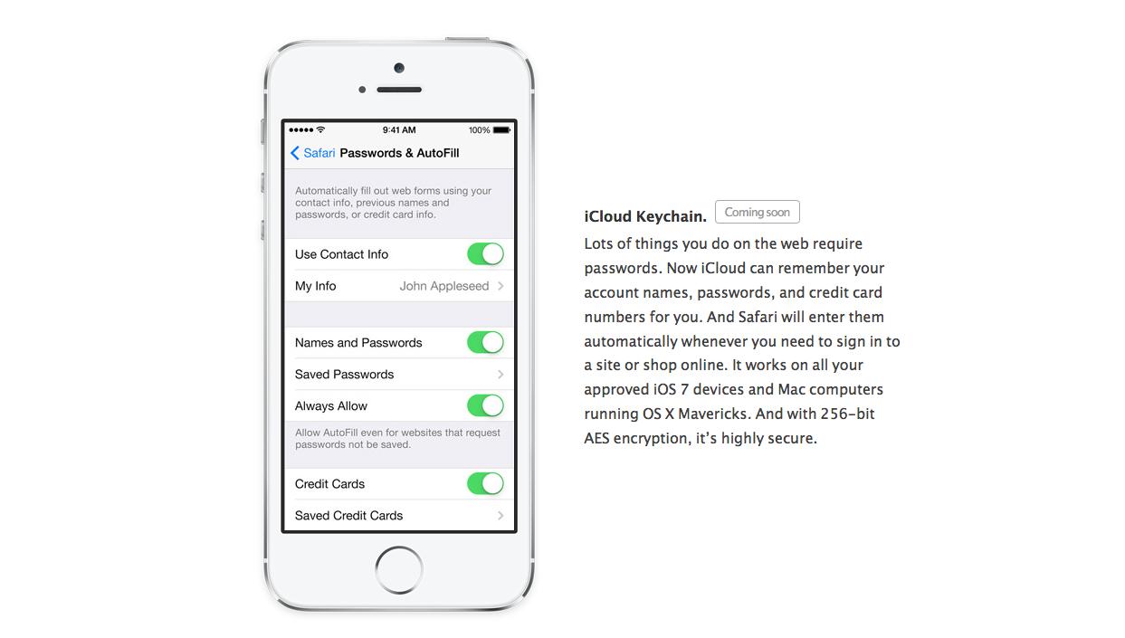 iCloud -nyckelring har tydligen hämtats från iOS 7.