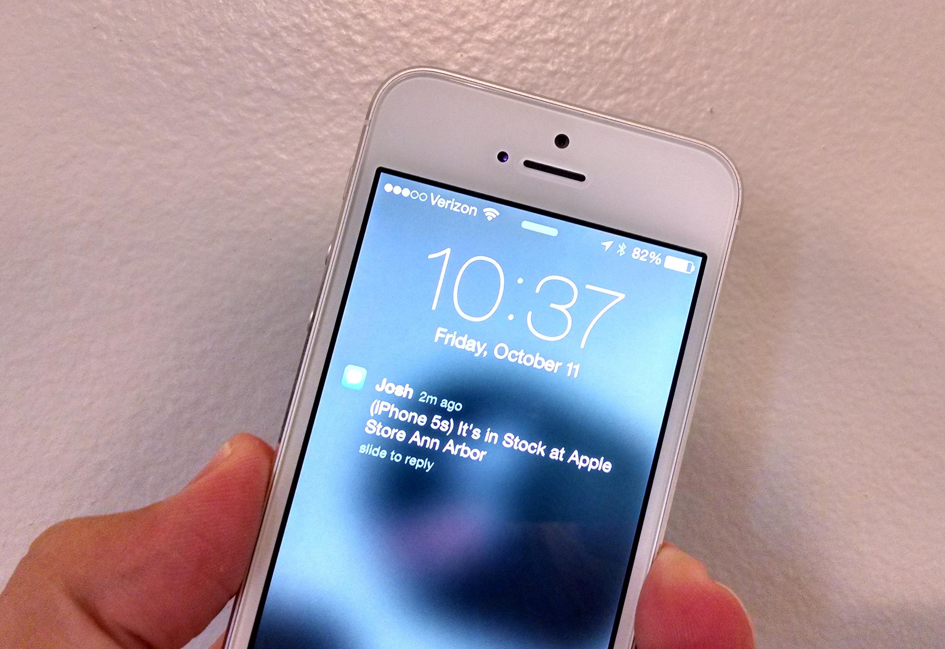 Få en text eller e -post när iPhone 5s finns i lager i en lokal Apple Store.