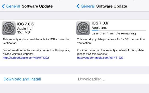 iOS 7.0.6 uppdatering