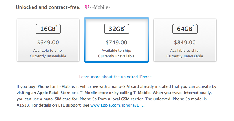 Priset för iPhone 5S utanför kontrakt är som förväntat.