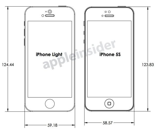 iPhone 5S -ritning visar design och mått som en fodralstillverkare förväntar sig av Apple.