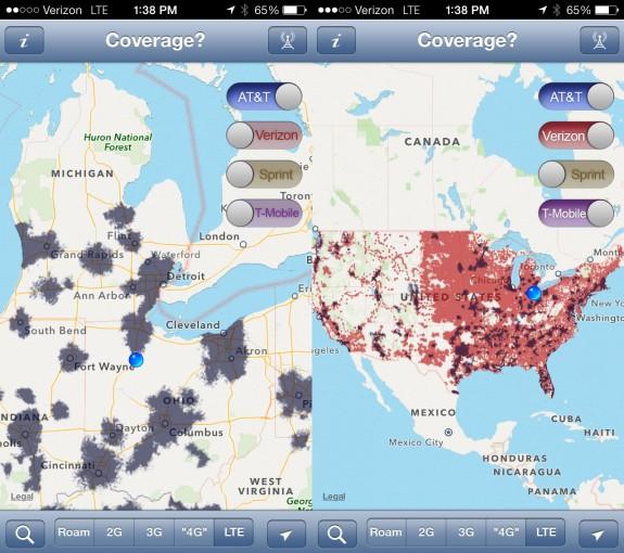 Jämför iPhone 5s operatörstäckning med 3G, 4G och 4G LTE med den här appen.