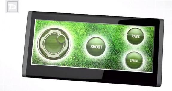 Baksidan kan bli en kontroller för spel, vilket gör att enhetens framsida är öppen för att titta på spelet.