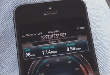 iPhone 5 -hastighetstest 4G LTE Verizon