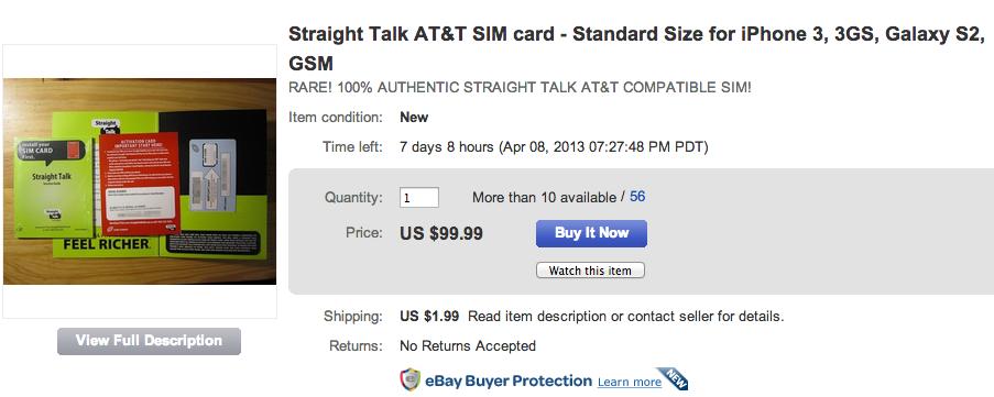 Shoppare kan köpa ett Straight Talk AT&T SIM -kort på eBay till ett högt pris.