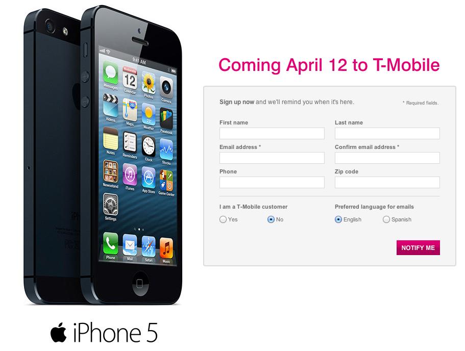 Användare kan förregistrera sig för T-Mobile iPhone 5 för att hämta en den 12 april.