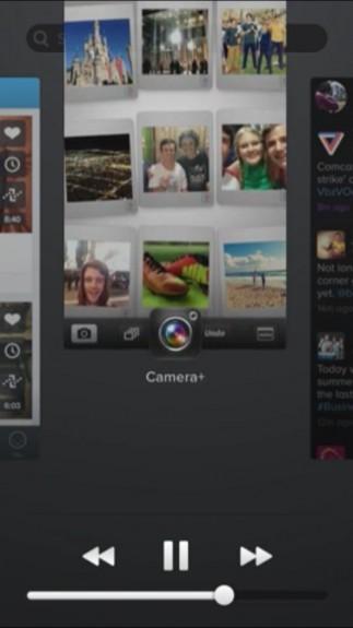 Svep upp eller ner på en app för att sluta i detta iOS 7 -koncept.