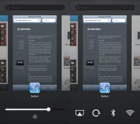 IOS 7 -konceptet som visas här erbjuder ljusstyrka och växlar för vanliga inställningar med en svepning.