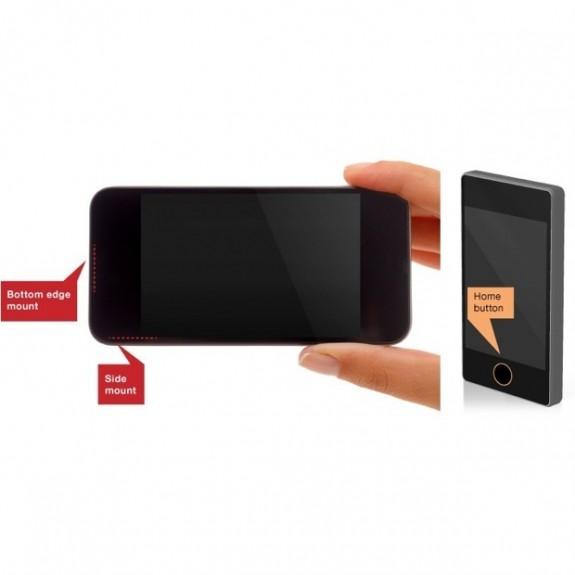 Ett exempel på hur en fingeravtrycksläsare kan integreras med hemknappen.