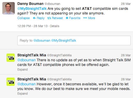 Straight Talk stöter på frågan, med hänvisning till att ett AT & T -SIM -kort har återlämnats.